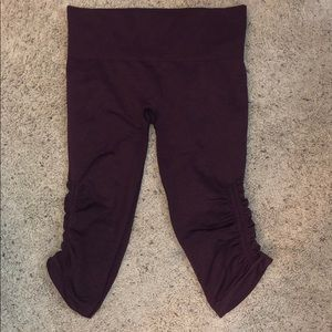 Maroon cropped Lululemon Leggings